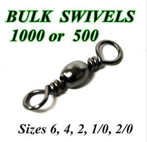 BULK Barrel Swivels - 1000 or 500 Size 2/0 1/0 2 4  6  8  10 Rig Fishing Swivels