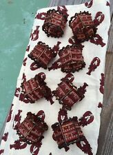 Pier 1 One Imports Red Beaded Napkins Rings ~ Set Of 8 Copper Brown Aurora Toned