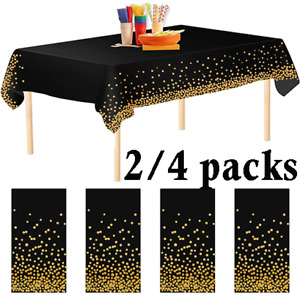 2/4pack Black Dot Tablecloths Confetti Party PEVA Table Covers for Weddings Xmas