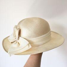Vintage Kangol Ladies Straw Hat Ribbon Bow Races Wedding Summer Party Formal