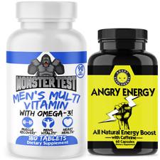 Monster Test Men's Multi Vitamin 3-Month Supply + Angry Energy Boost Pills 2-Pk