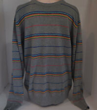 PULL AND BEAR Mens Crewneck Pullover Sweater Sweatshirt Rainbow Large Gray Blue