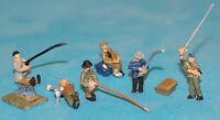 6 Riverbank Fisherman A126 UNPAINTED N Gauge Scale Langley Models Kit Figures