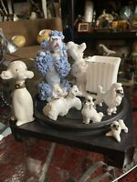 """Lot Of 9 Porcelain SPAGHETTI POODLE Planter Blue Standing Pups W/Chain 1"""" - 5"""""""