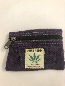 New Hippie Eco THC FREE HEMP Coin Purse Cotton Card Holder Mini Wallet Nepal KC
