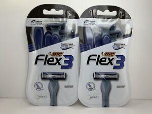 2 Bic Flex 3 Men's Disposable Razors, 3 Flexible Blades, 8 Razors Total