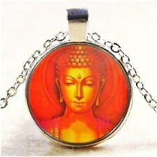 Buddha Buddhism Golden Orange Glass Cabochon Tibet Silver Pendant Necklace Gift