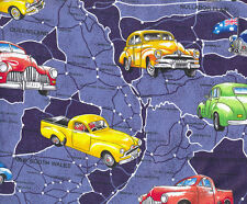Holden Cars on Blue Australian Map Quilt Fabric Craft Fat Quarter or Metre NEW