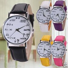 Fashion Women Mens Leather Strap Stainless Steel WATCH Casual Quartz Wrist Watch