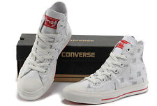 Converse Chuck Taylor All Star White High Tops, RED SOLES- LIMITED EDITION - NEW