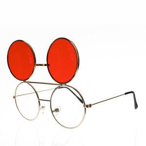 Retro Flip Up Glasses with Red Lenses Gold Frame - Flippy