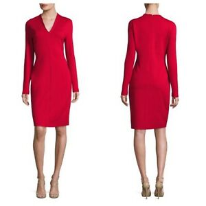 Escada Black Dzanna V-Neck Long Sleeve Sheath Dress Size 42 Or 12 RP: $995