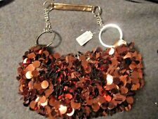 NEW COPPER RING PURSE WITH BRONZE LEATHER STRAP & SILVER COLOR METAL RINGS