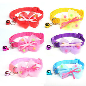 Cute Bow Tie Pets Dog Kitten Cat Collar With Bells Adjustable