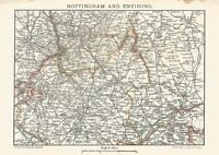 A vintage map of Nottingham and environs.