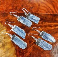 Kyanite Earrings - Crystal Point Earring Blue - Silver Plated (Y8)