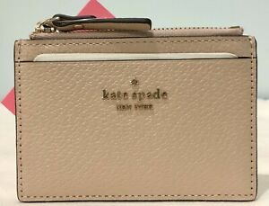 Kate Spade adi groove street warm beige zip card coin holder wallet leather NEW