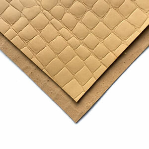 Crocodile print VEG TAN Sheets 6x6in/15x15cm 2.5oz/.0mm tanned tooling leather