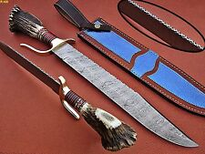 Union Knives Custom Hand Made Damascus Steel Bowie Knife With Stag Horn Handle.