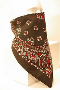 Fleece lined Black Red Paisley bandana motorcycle skiing face mask