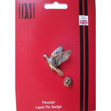 Silver Handmade In England Woodpigeon Bird Design Pewter Lapel Pin Badge New