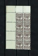Samoa: 1895, 0.5d purple-brown, Palm Trees, block x 8 with double perf MNH
