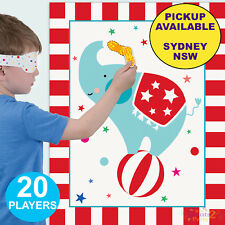 CIRCUS CARNIVAL PARTY SUPPLIES PIN THE PEANUT ELEPHANT BIRTHDAY GAME BANNER