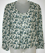 East UK8 EU36 US4 white long-sleeved blouse with blue floral patterning