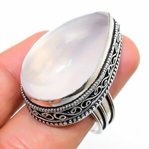 Rose Quartz Gemstone Vintage 925 Sterling Silver Jewelry Ring Size 7.5 r499
