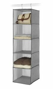 Whitmor Closet Hanging Accessory Shelves 5 Open Sweater Shelves Crosshatch Gray