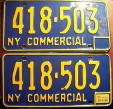 1966 NEW YORK PAIR MATCHED SET COMMERCIAL LICENSE PLATES VINTAGE N.Y. TRUCK YOM