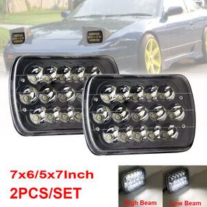 "Pair 5x7"" 7x6"" LED Black Headlight For Nissan Pickup Hardbody 240SX D21 Toyota"