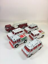 Vintage 6 Tootsietoy Emergency Rescue Vehicles 1970's Fire Truck Made in USA
