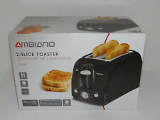 AMBIANO 2 Slice Toaster with Bagel Button and Removable Crumb Tray BLACK 750W