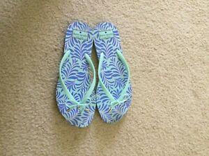 Kate Spade Sandals Nova Black Carribean Sky, Blue Sea Fern Flip Flops Sz 11