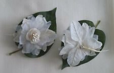 "2X White Cream Artificial Silk Flower 4""  Head Hair Clip Craft Pin"