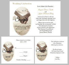 100 Personalized Beach Hands Sand Tropical Destination Wedding Invitations Set