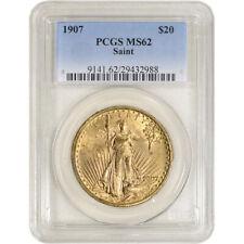 1907 US Gold $20 Saint-Gaudens Double Eagle - PCGS MS62