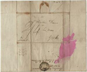 JAMAICA: 1812 Pre-stamp Entire to York with mileage mark and Cancel (41895)