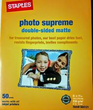 """NEW Staples Photo Supreme Paper 8 1/2"""" x 11"""" Double Sided Matte Printer 50 Pack"""