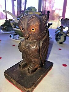 Vintage Carved Wood Owl single Bookend glass eyes