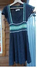 Free People Grey Mini Short Sleeve Sweater Dress Jumper Green Trim XS