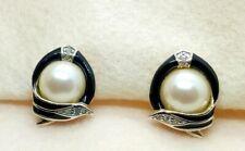 Diamante Clip On Earrings Faux Pearl Black Enamel