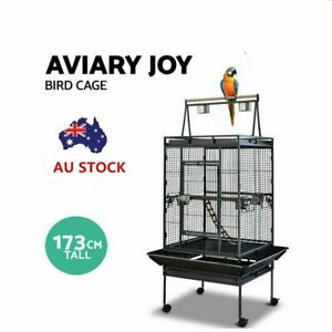 Parrot Bird Cage Stand-Alone Perch Roof Black Budggie Finch Chatoo Cage 173cm