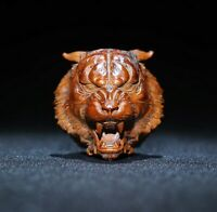 Collect Netsuke decor natural boxwood carve fierce tiger head statue figurines