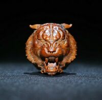 Collect fengshui decor natural boxwood carve fierce tiger head statue figurines