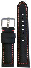 20mm Panatime Black Carbon Fiber Style Watch Band w/Orange Stitch 115/80 20/18