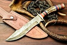 Custom Hand Made Damascus Steel Blade Hunting Knife | Fabulous Stag Antler