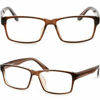 Square Mens Womens Plastic Frame Eyeglasses Metal Reinforced Temples Brown Amber