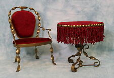 Huret French Fashion doll Red velvet and brass Table and Chair that is a replica